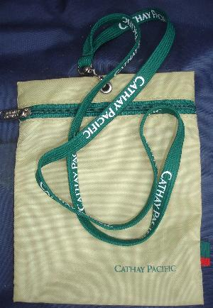 A cute carry pouch and Lanyard, both with the Cathay Pacific logo/name.